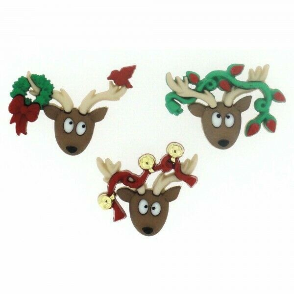 DRESS IT UP CHRISTMAS BUTTONS OH DEER 7498 FREE P&P