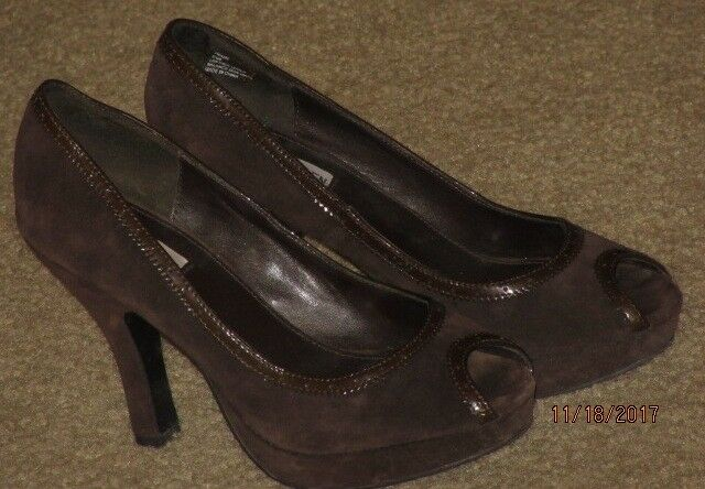 Steve Madden SHOES Dark BROWN SUEDE LEATHER SHOES Madden 8.5M Peep Toe Platform Heels Slip-On 61d384