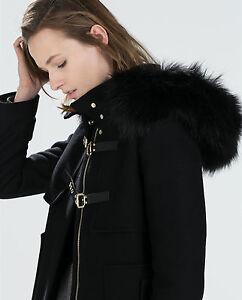 Black duffle coat fur hood