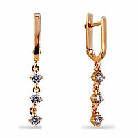 Solid 9ct Gold Stunning Leverback Huggie Drop Cz Earrings