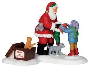 Lemax Christmas Village Santa and Kittens, Set of 2