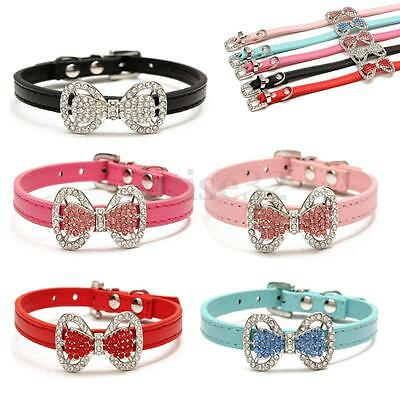 Bling Bowknot Adjustable PU Leather Pet Dog Puppy Rhinestone Necklace Cat Collar