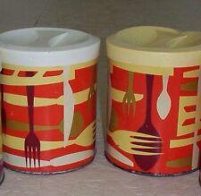 Lot-2 Vintage Shortening Tin Canister Procter & Gamble Red Orange Metal Can