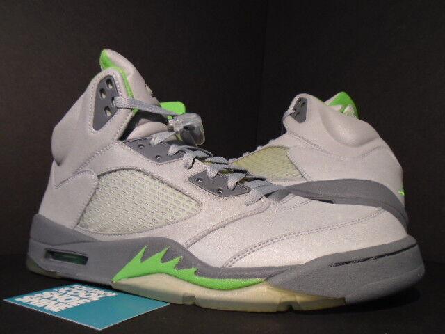 2006 Nike Air Jordan V 5 Retro SILVER 3M GREEN BEAN FLINT GREY 136027-031 NEW 12