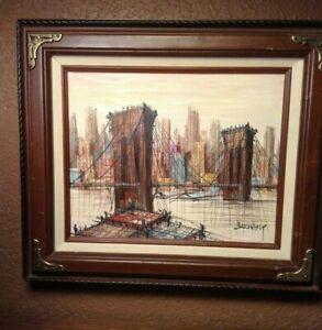 New-York-Brooklyn-Bridge-Lower-Manhattan-Skyline-Oil-on-Canvas-Artist-Duchamp