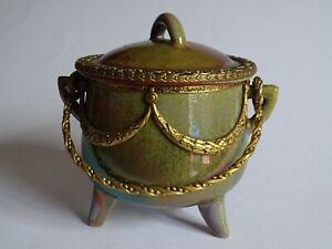 Un Ancien Petit Chaudron En Gres Flamme Monture Bronze Dore