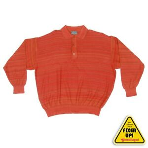 KENZO-HOMME-Mens-Long-Sleeve-Polo-Shirt-Red-Orange-size-Small-blemish-464
