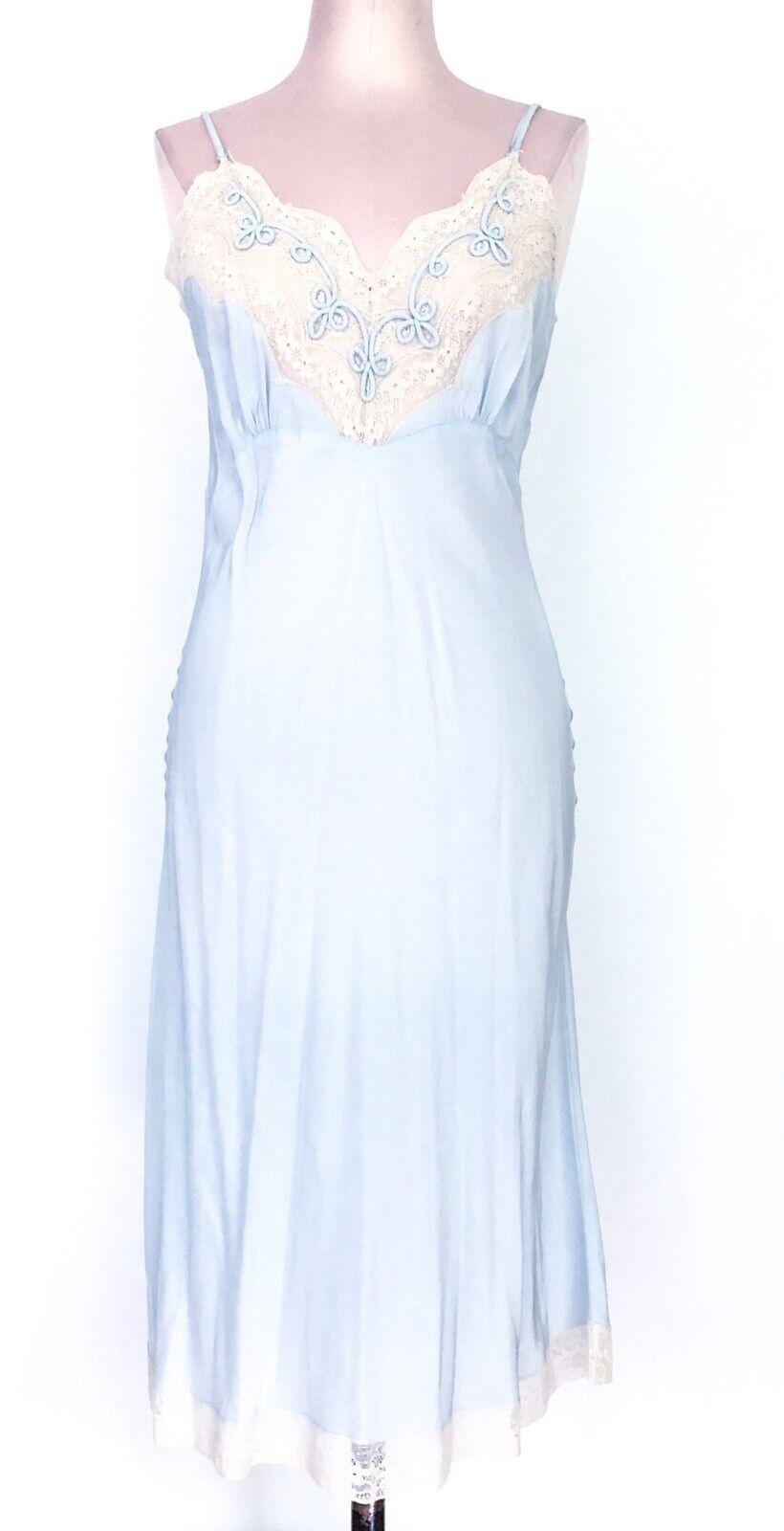 Vintage Light Blue Slip Dress M Slip W/ Lace Trim Sultry Slip Dress Or Lingerie