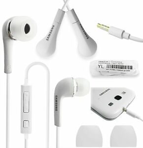 White-Handsfree-Headphones-Earphones-Earbud-with-Mic-EHS64AVFWE-For-Samsung