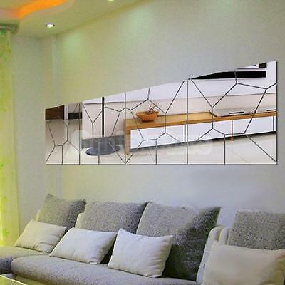 7Pcs Moire Pattern Mirror Removable Decal Art Mural Wall Sticker Home Decor