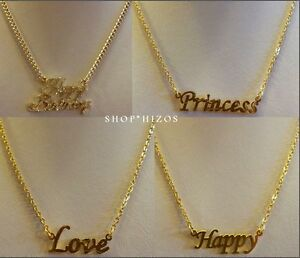 Gold 18 Quot Chain Link Name Plate Necklace Happy Birthday