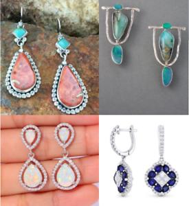 925-Silver-Opal-Sapphire-Turquoise-Ear-Hook-Hoop-Dangle-Earrings-Wedding-Gift