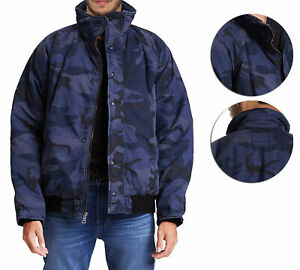 Hudson-Jeans-Blue-Camo-Army-Casual-Full-Zip-amp-Snap-Button-Front-Bomber-Jacket