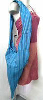 Sac Besace Bandouliere Baba Cool Hippie Cône Pointe Turquoise Rayé Femme Neuf