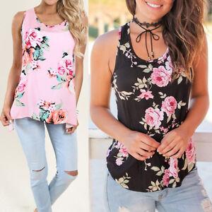 6948cead4e9 US Womens Sleeveless Tank Top Cami Vest Blouse Vest T Shirt Ladies ...