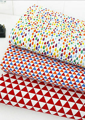 Red Geometric patterns 100% Cotton Fabric Triangles Quilting cuts (fft172)>