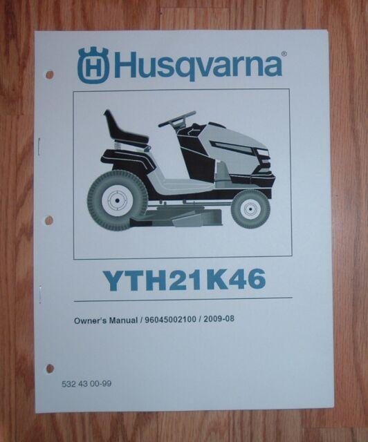 husqvarna lawn tractor yth21k46 owners manual with parts list ebay rh ebay com husqvarna lawn mower instruction manual husqvarna lawn mower yth21k46 owners manual