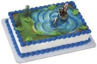 Fisherman W/ Action Fish Birthday Cake Kit Topper Decoration Dad Birthday Retire