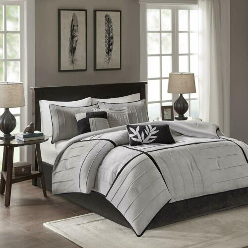 Gray Grey Black Pintuck Pleat Stripe 7 pc Comforter Set Full Queen Cal King Bed