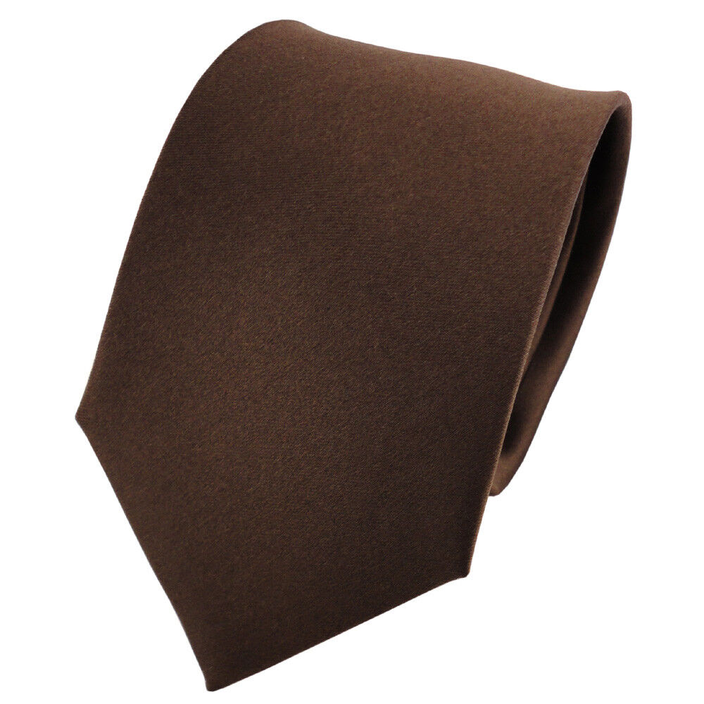 Satin Seidenkrawatte braun dunkelbraun terrabraun einfarbig Uni - Krawatte Seide