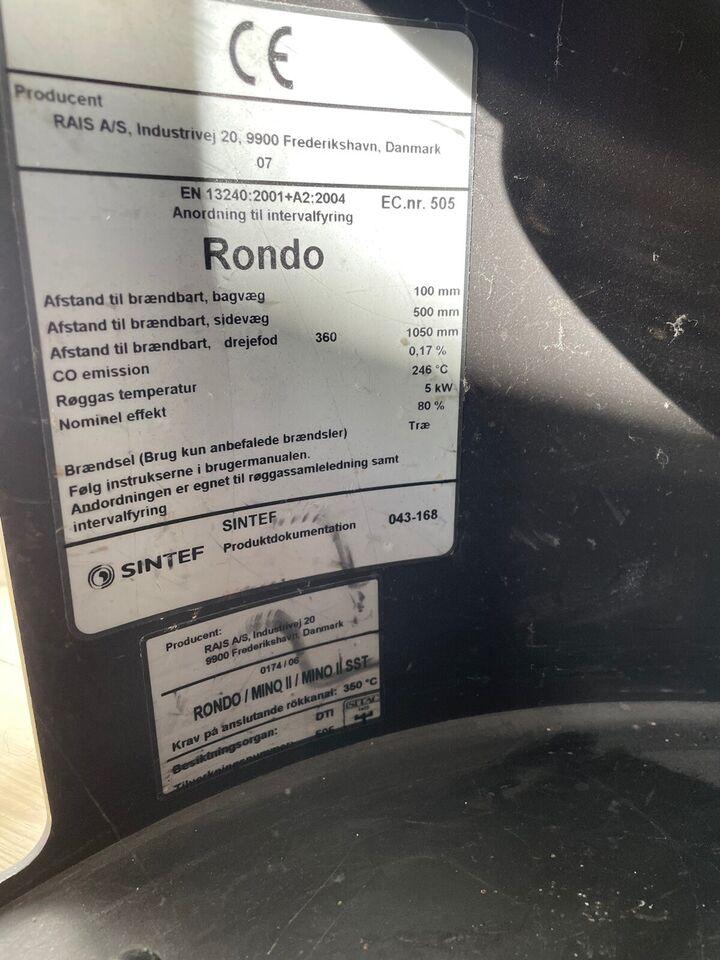 Brændeovn, RAIS Rondo m/bagafgang sort, m.