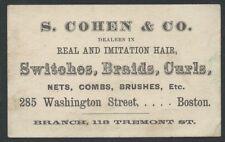 1870s Victorian Card for Real & Imitation Ladies Hair Work & Hair -Boston