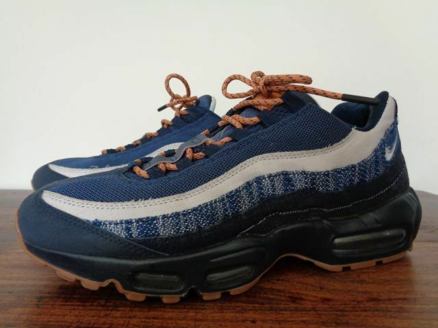Nike Mens Air Max 95 premium denim, 10, dark obsidian, granite cider