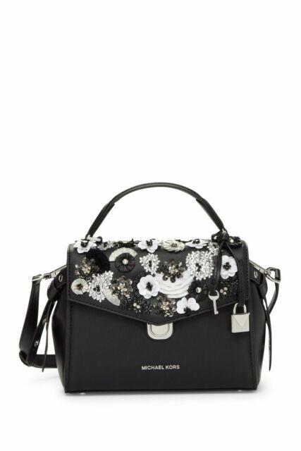 750aee80247d57 Michael Kors Bristol Floral Applique Satchel Bag Black Leather for ...