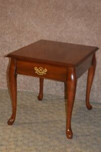 Image Is Loading Vintage Solid Cherry Queen Anne Side Table W