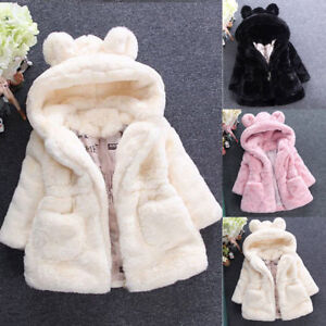Baby Kid Girls Princess Warm Coat Fleece Jacket Top Fur Hooded Outwear Overcoat