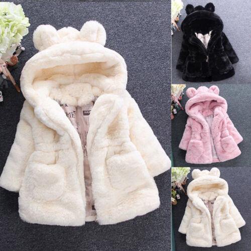 Kids Baby Girls Winter Fluffy Coat Softy Warm Infant Hooded Outwear Jacket Suit