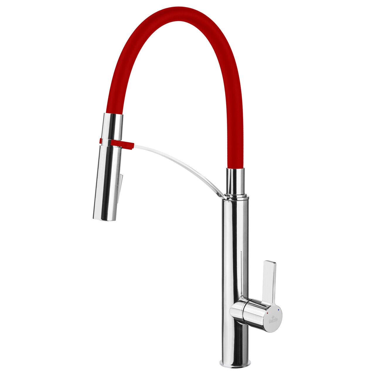 Designer Spültisch Küchenarmatur Mischbatterie - Chrom Rot - Flexible Brause
