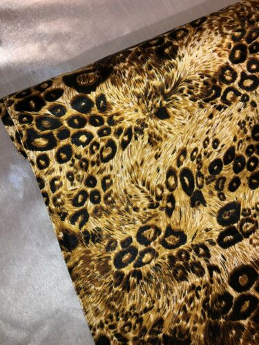 "1 MTR Oro Leopardo Animal Print Vestido de Satén Sedoso Tela. 58/"" de ancho 147cm"