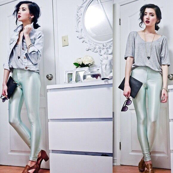 American Apparel Disco Pants - Menthe (Mint Farbe) Größe Xxs XXSMALL 00 0 2 Grün