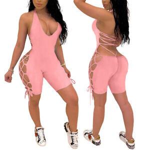 Jumpsuit-Lace-Up-Side-Bandage-Sleeveless-Strappy-Sexy