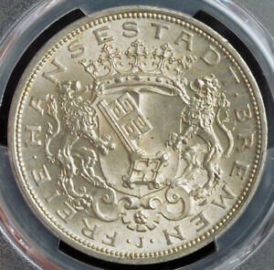 1906-Bremen-Free-Hanseatic-City-Large-Silver-5-Mark-Coin-Gem-PCGS-MS-66