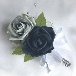 Image Is Loading DOUBLE BUTTONHOLE NAVY BLUE Amp GREY ROSES ARTIFICIAL