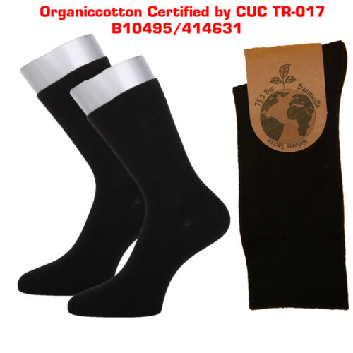 3 Paar Bio Baumwolle Socken mit Pique Bund Glattgestrickte Strümpfe schön weich