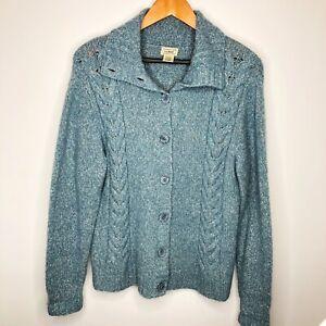 L.L. Bean Size Large Teal Women's Cardigan Sweater Wool Blend