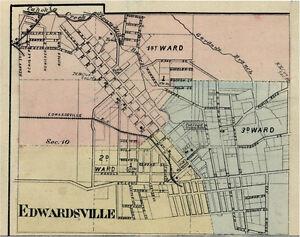 Edwardsville Illinois Madison Co Il 1876 Map Genealogy Ebay
