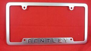 bentley logo rear license plate frame brushed silver oem. Black Bedroom Furniture Sets. Home Design Ideas