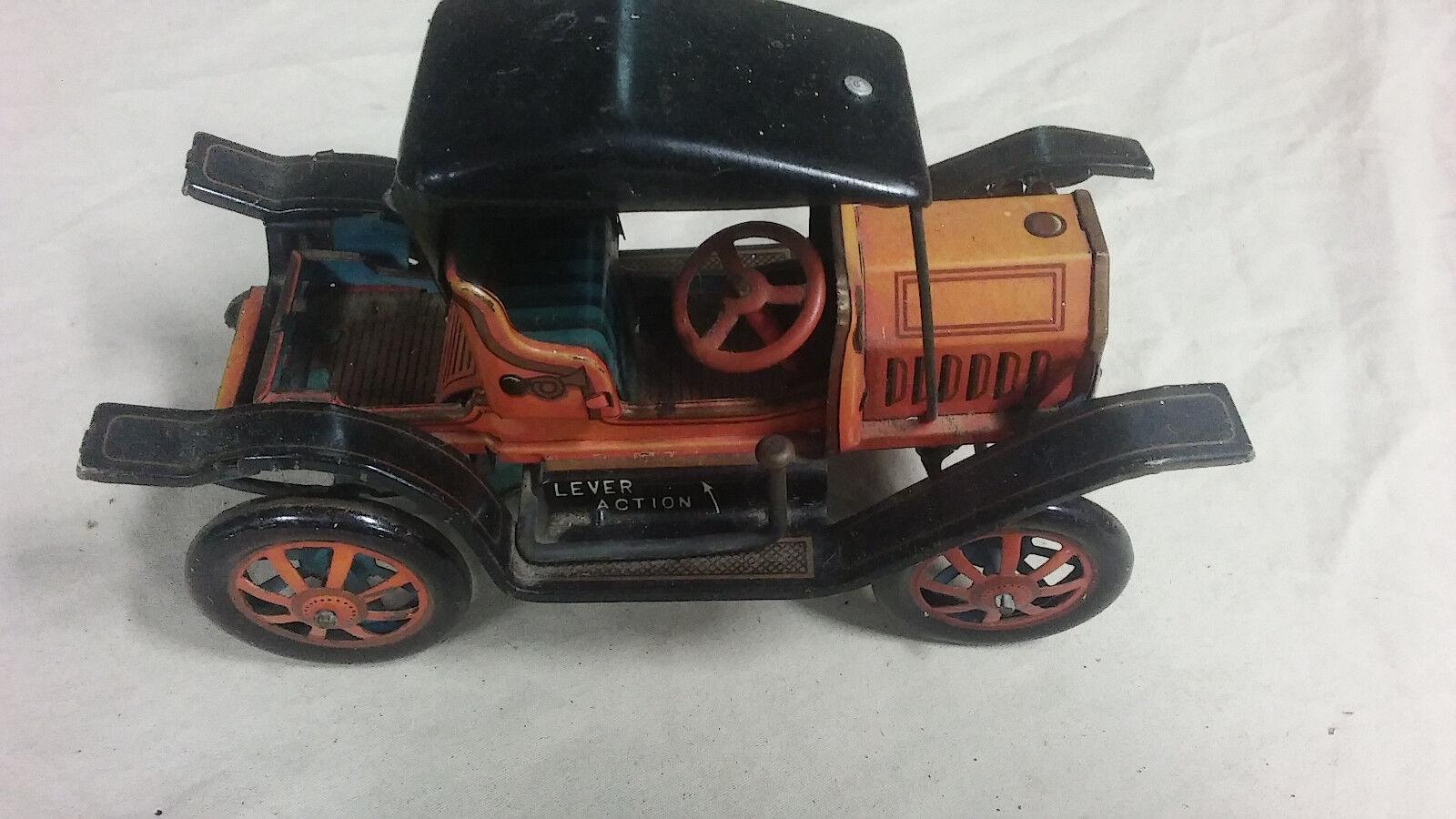Alpes Vintage 1908 Ford coche de hojalata de acción de palanca