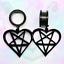 Black-Heart-Pentagram-Wicca-Star-Witch-Goth-Pendant-Dangle-Ear-Plug-Tunnel