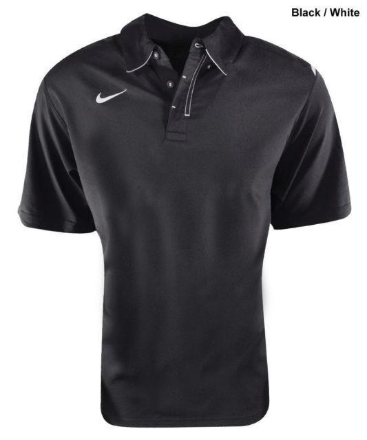 Nike Herren Stretch Gewoben Dri - Fit Polohemd Schwarz Weiß 100%Polyester Neu