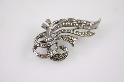 Antiques 100% Quality Vintage Art Deco Stering Silver Flower Branch Marcasite Brooch Cleaning The Oral Cavity.