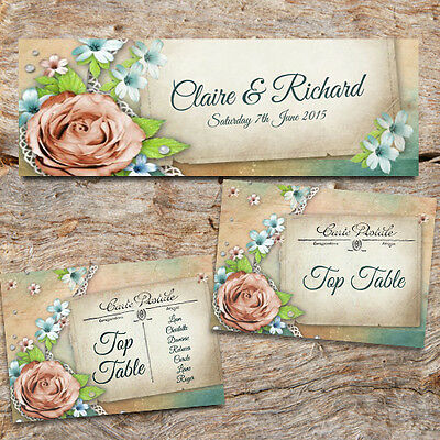 VINTAGE SUMMER TEA PARTY WEDDING TABLE NUMBERS -DIY TABLE PLAN 2 Sizes available