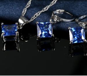 Humor Damen Schmuckset Blau 925er Silber Ohrringe Halskette Kette Ohrstecker Schmuck