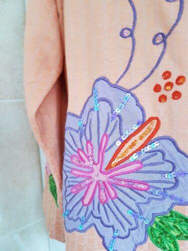 Indigo buste met 1xl Moon oranje abrikoos roze bloemen jack maat prachtige 46 ZAZqwvr