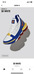 new concept 915e4 7bb1d Image is loading Lebron-16-SB-White-Size-11-5-DS-