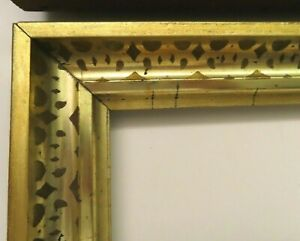 2-Antique-Fits-8-X-10-034-Lemon-Gold-Gilt-Picture-Frame-Stencil-Wood-Fine-Art-PAIR